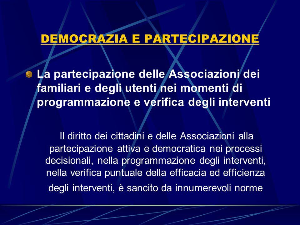 DEMOCRAZIA E PARTECIPAZIONE La partecipazione delle Associazioni dei familiari e degli utenti nei momenti di programmazione e verifica degli intervent