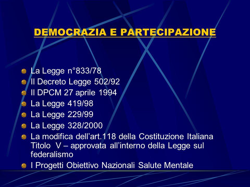 DEMOCRAZIA E PARTECIPAZIONE La Legge n°833/78 Il Decreto Legge 502/92 Il DPCM 27 aprile 1994 La Legge 419/98 La Legge 229/99 La Legge 328/2000 La modi