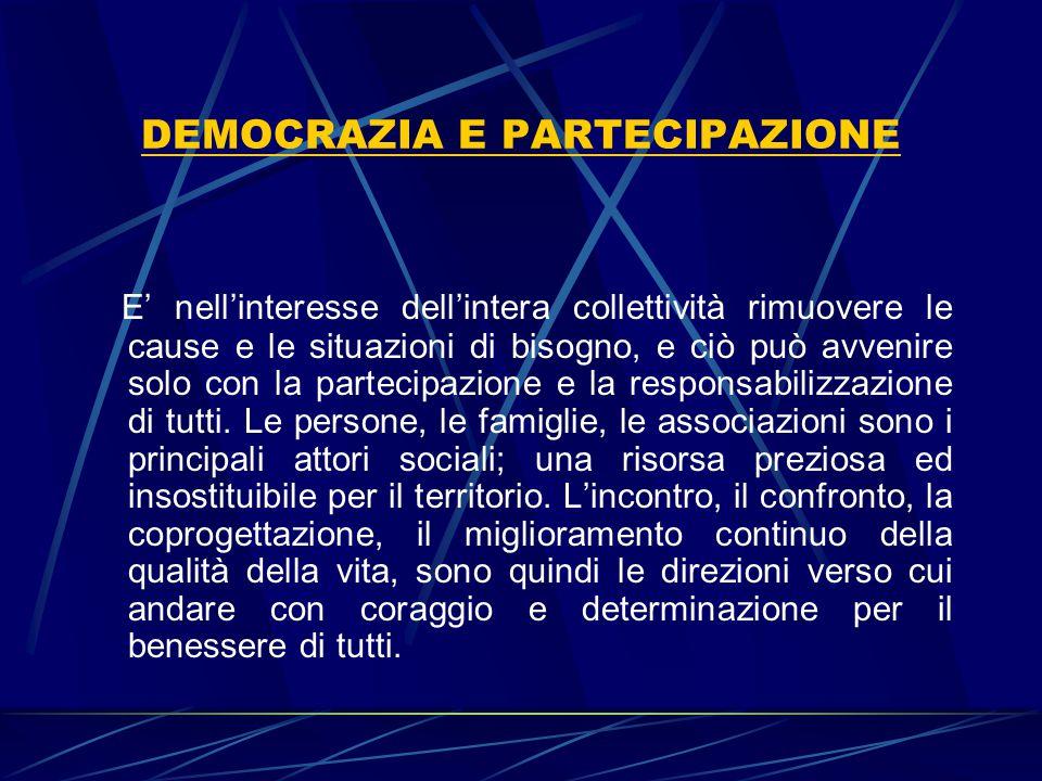 DEMOCRAZIA E PARTECIPAZIONE E' nell'interesse dell'intera collettività rimuovere le cause e le situazioni di bisogno, e ciò può avvenire solo con la p