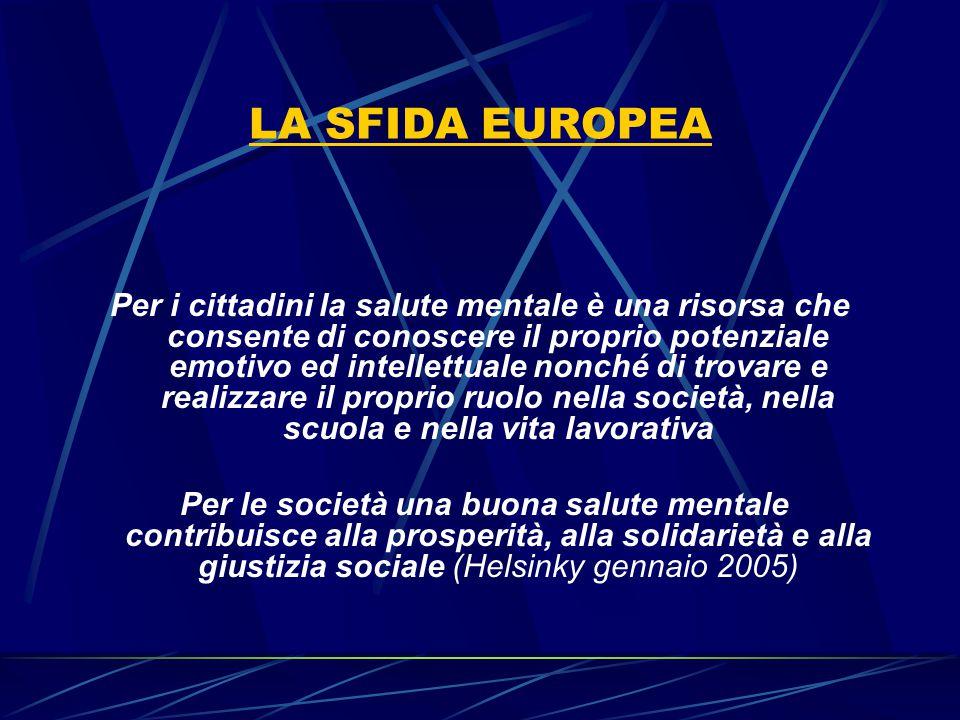 LA SFIDA EUROPEA Per i cittadini la salute mentale è una risorsa che consente di conoscere il proprio potenziale emotivo ed intellettuale nonché di tr