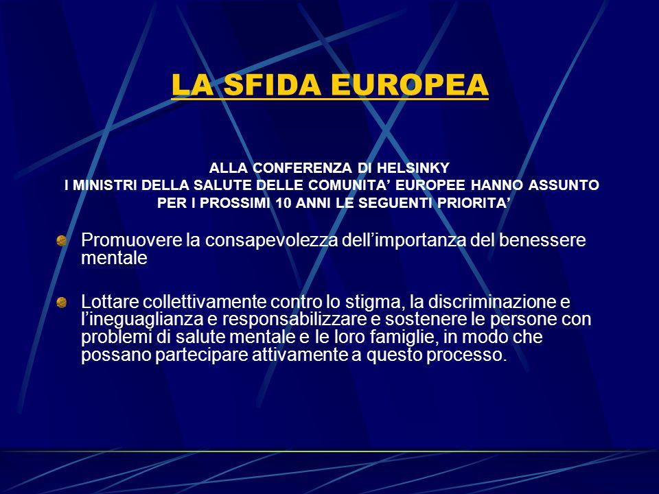 LA SFIDA EUROPEA ALLA CONFERENZA DI HELSINKY I MINISTRI DELLA SALUTE DELLE COMUNITA' EUROPEE HANNO ASSUNTO PER I PROSSIMI 10 ANNI LE SEGUENTI PRIORITA