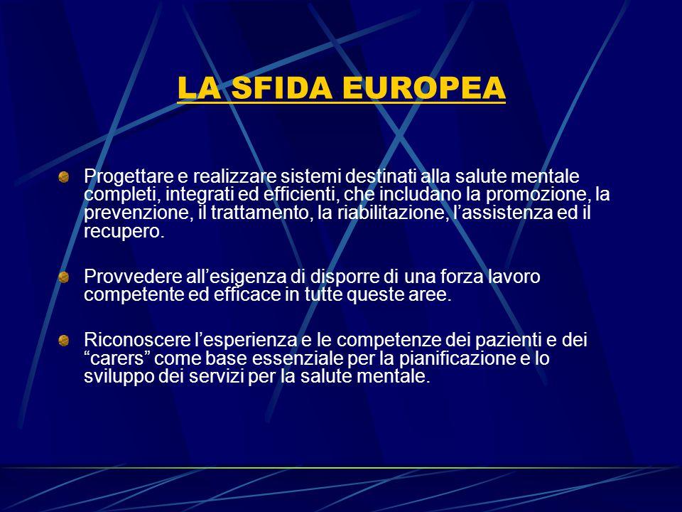 LA SFIDA EUROPEA Progettare e realizzare sistemi destinati alla salute mentale completi, integrati ed efficienti, che includano la promozione, la prev