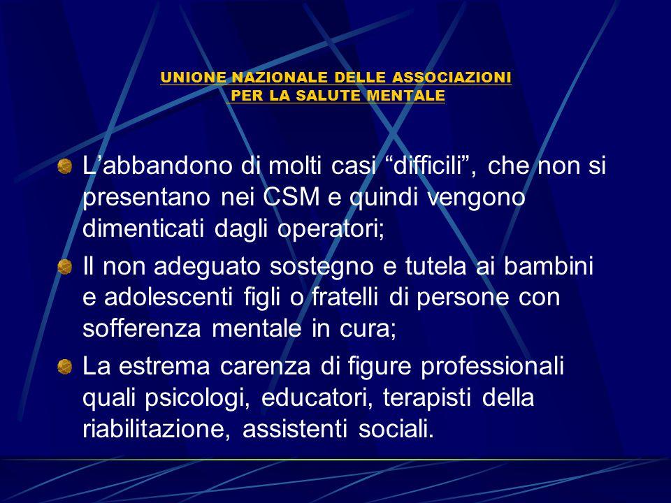 UNIONE NAZIONALE DELLE ASSOCIAZIONI PER LA SALUTE MENTALE I NUMERI ITALIANI N°707 centri di salute mentale; di questi, solo 22 funzionano nelle 24 ore e si trovano nelle regioni: Friuli Venezia Giulia, Campania,Toscana, Emilia Romagna (si sta avviando il primo csm 24 ore).