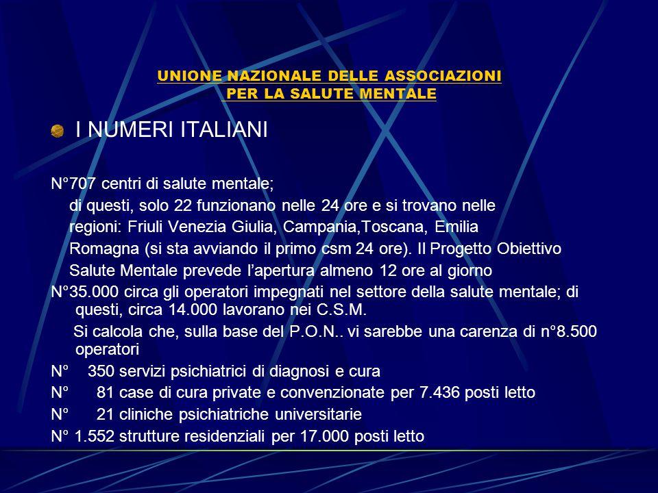 UNIONE NAZIONALE DELLE ASSOCIAZIONI PER LA SALUTE MENTALE I NUMERI ITALIANI N°707 centri di salute mentale; di questi, solo 22 funzionano nelle 24 ore