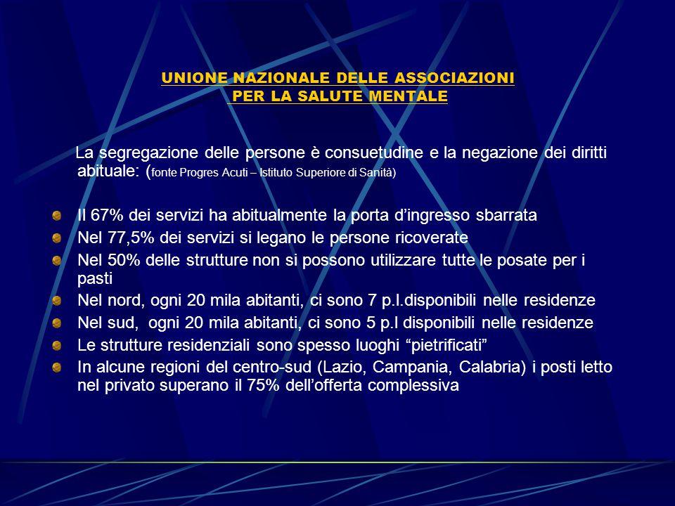 UNIONE NAZIONALE DELLE ASSOCIAZIONI PER LA SALUTE MENTALE Il confronto con l'Europa 12 psichiatri per 100.000 abitanti contro i 9,8 italiani 23 psicologi per 100.000 abitanti contro i 3 italiani 75 assistenti sociali per 100.000 abitanti contro 6 italiani 49 infermieri per 100.000 abitanti contro 33 italiani Il badget per la salute mentale in Europa è del 7,25 % contro il 5% dell'Italia (tra l'altro quasi mai raggiunto) Fonte Aipsi-Med