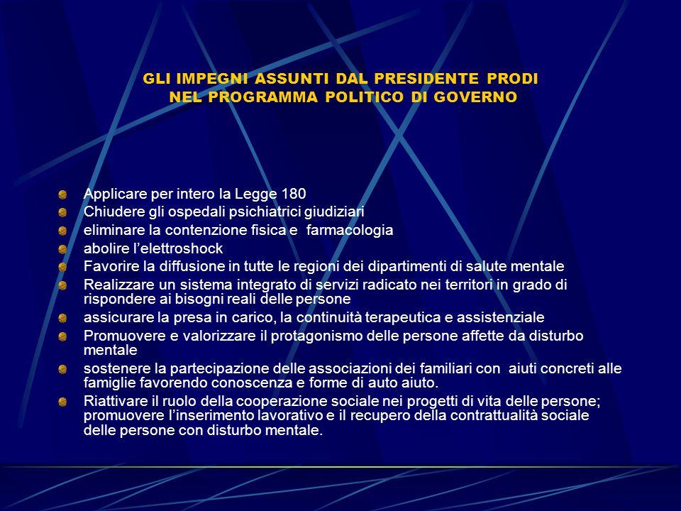 GLI IMPEGNI ASSUNTI DAL PRESIDENTE PRODI NEL PROGRAMMA POLITICO DI GOVERNO Applicare per intero la Legge 180 Chiudere gli ospedali psichiatrici giudiz