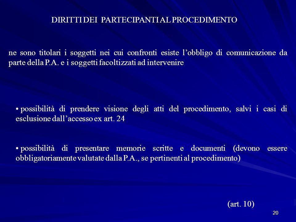 20 DIRITTI DEI PARTECIPANTI AL PROCEDIMENTO ne sono titolari i soggetti nei cui confronti esiste l'obbligo di comunicazione da parte della P.A.