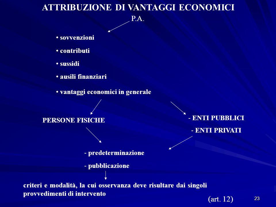 23 ATTRIBUZIONE DI VANTAGGI ECONOMICI P.A.