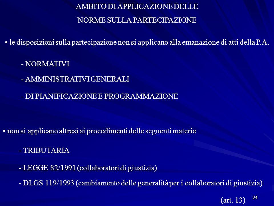 24 AMBITO DI APPLICAZIONE DELLE NORME SULLA PARTECIPAZIONE le disposizioni sulla partecipazione non si applicano alla emanazione di atti della P.A.