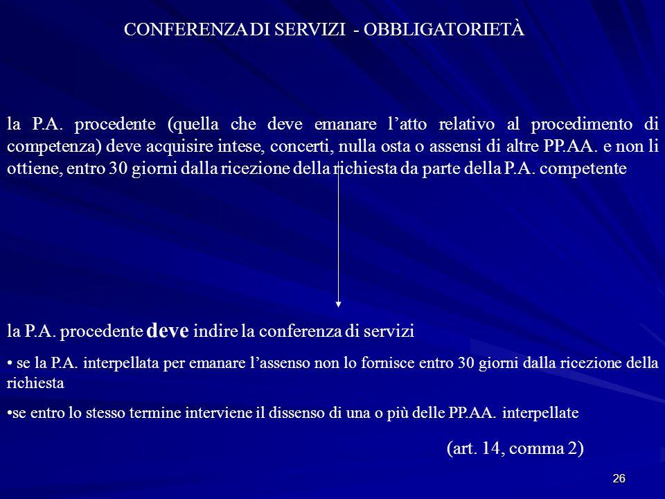 26 CONFERENZA DI SERVIZI - OBBLIGATORIETÀ la P.A.