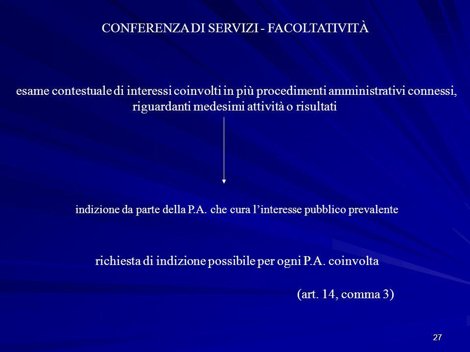 27 CONFERENZA DI SERVIZI - FACOLTATIVITÀ esame contestuale di interessi coinvolti in più procedimenti amministrativi connessi, riguardanti medesimi attività o risultati indizione da parte della P.A.