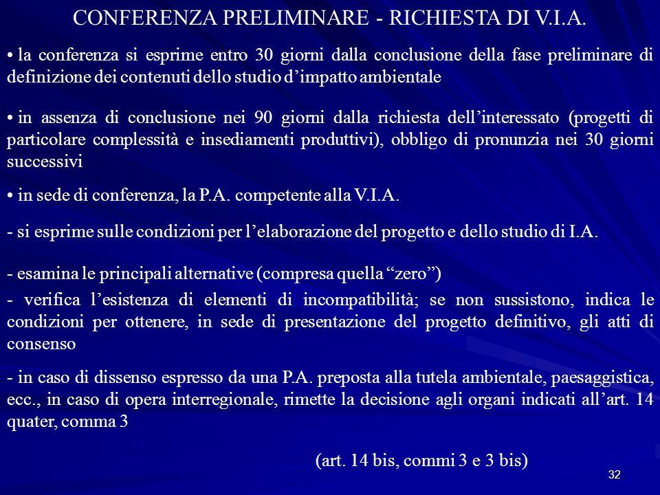 32 CONFERENZA PRELIMINARE - RICHIESTA DI V.I.A.