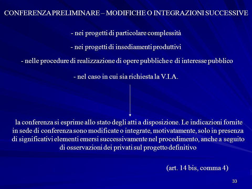 33 CONFERENZA PRELIMINARE – MODIFICHE O INTEGRAZIONI SUCCESSIVE - nei progetti di particolare complessità - nei progetti di insediamenti produttivi - nelle procedure di realizzazione di opere pubbliche e di interesse pubblico - nel caso in cui sia richiesta la V.I.A.