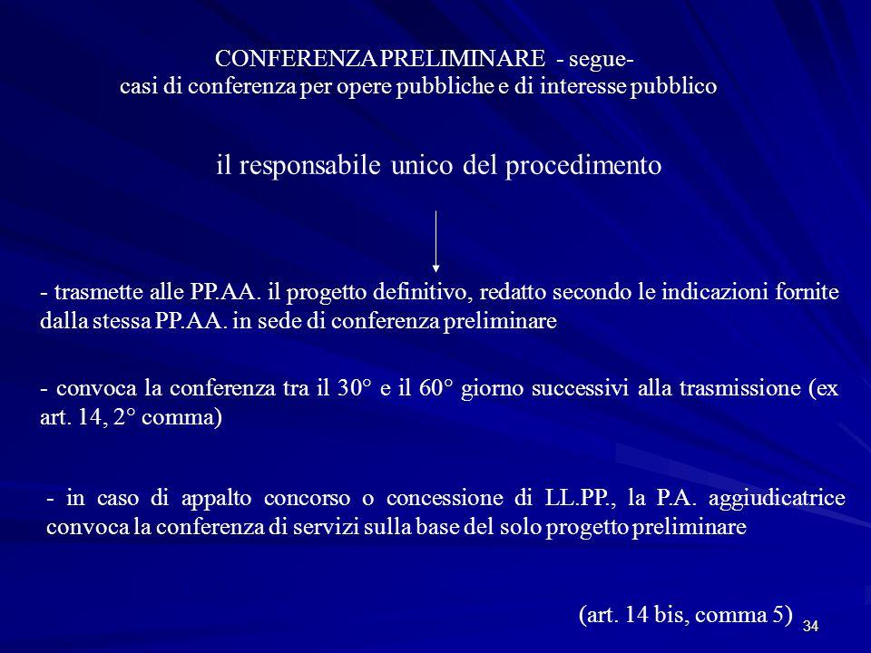 34 CONFERENZA PRELIMINARE - segue- casi di conferenza per opere pubbliche e di interesse pubblico il responsabile unico del procedimento - trasmette alle PP.AA.