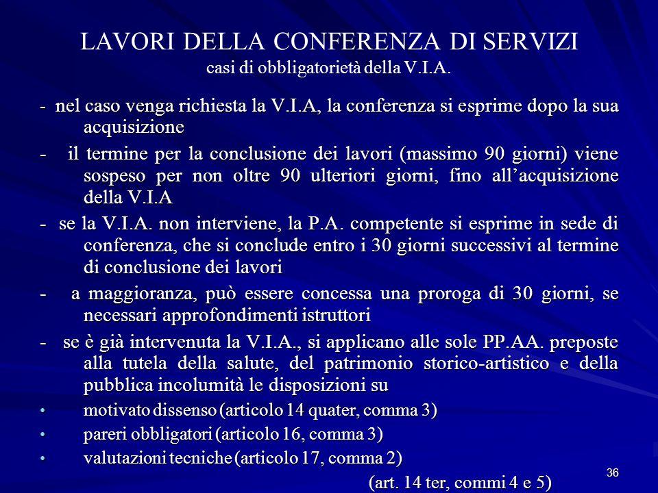 36 LAVORI DELLA CONFERENZA DI SERVIZI casi di obbligatorietà della V.I.A.