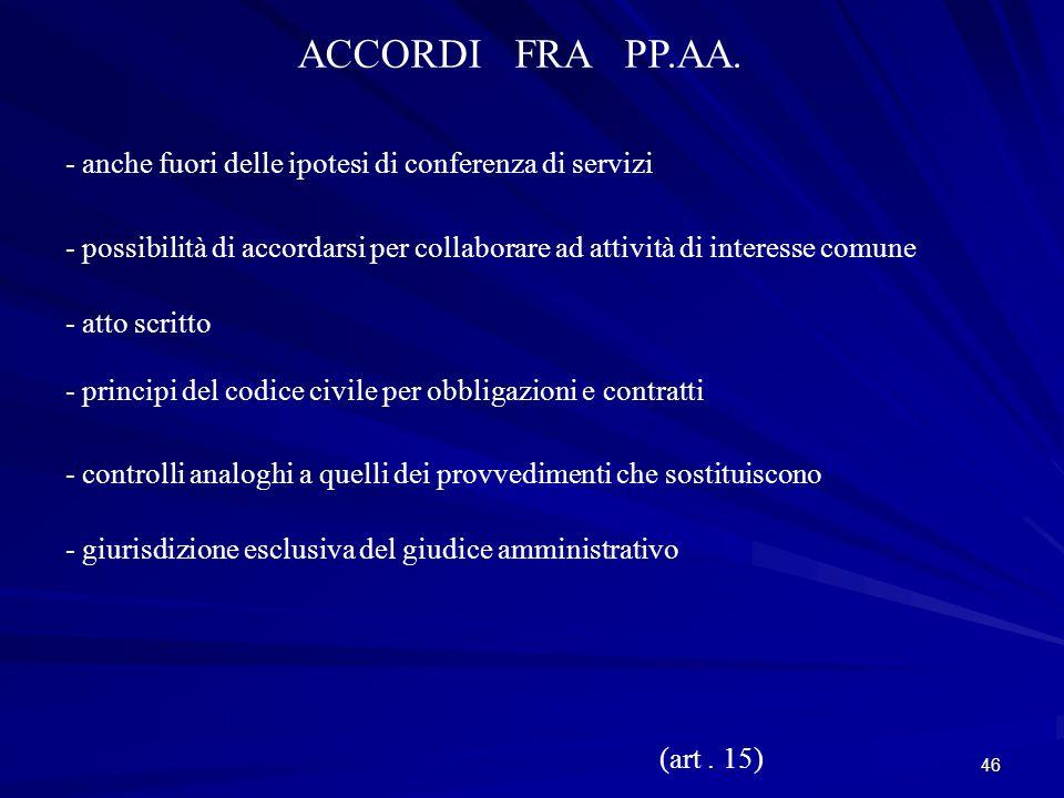 46 ACCORDI FRA PP.AA.
