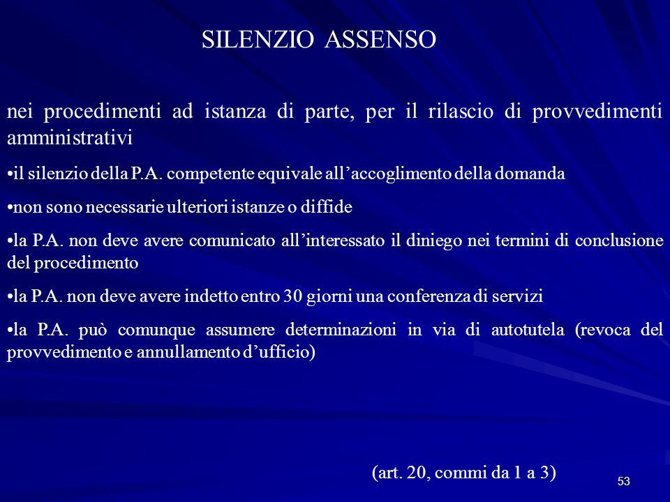 53 SILENZIO ASSENSO nei procedimenti ad istanza di parte, per il rilascio di provvedimenti amministrativi il silenzio della P.A.