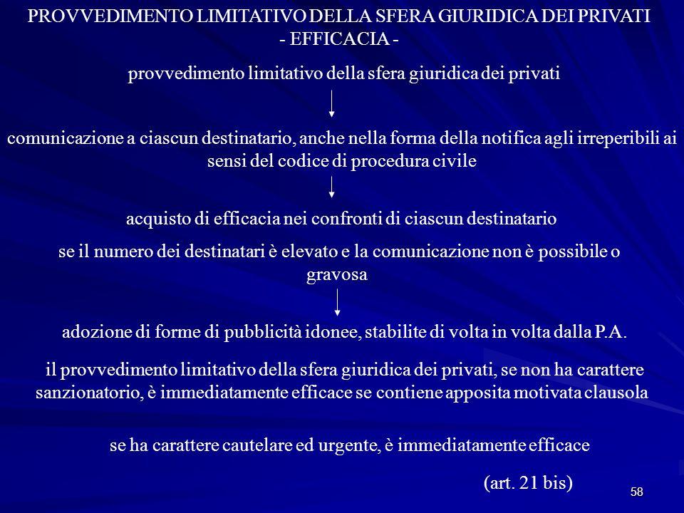 58 PROVVEDIMENTO LIMITATIVO DELLA SFERA GIURIDICA DEI PRIVATI - EFFICACIA - provvedimento limitativo della sfera giuridica dei privati comunicazione a ciascun destinatario, anche nella forma della notifica agli irreperibili ai sensi del codice di procedura civile se il numero dei destinatari è elevato e la comunicazione non è possibile o gravosa il provvedimento limitativo della sfera giuridica dei privati, se non ha carattere sanzionatorio, è immediatamente efficace se contiene apposita motivata clausola se ha carattere cautelare ed urgente, è immediatamente efficace adozione di forme di pubblicità idonee, stabilite di volta in volta dalla P.A.