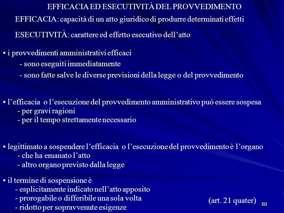 60 EFFICACIA ED ESECUTIVITÀ DEL PROVVEDIMENTO EFFICACIA: capacità di un atto giuridico di produrre determinati effetti ESECUTIVITÀ: carattere ed effetto esecutivo dell'atto i provvedimenti amministrativi efficaci - sono eseguiti immediatamente - sono fatte salve le diverse previsioni della legge o del provvedimento l'efficacia o l'esecuzione del provvedimento amministrativo può essere sospesa - per gravi ragioni - per il tempo strettamente necessario legittimato a sospendere l'efficacia o l'esecuzione del provvedimento è l'organo - che ha emanato l'atto - altro organo previsto dalla legge il termine di sospensione è - esplicitamente indicato nell'atto apposito - prorogabile o differibile una sola volta - ridotto per sopravvenute esigenze (art.