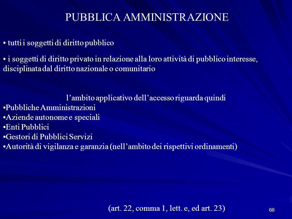 68 PUBBLICA AMMINISTRAZIONE tutti i soggetti di diritto pubblico i soggetti di diritto privato in relazione alla loro attività di pubblico interesse, disciplinata dal diritto nazionale o comunitario (art.
