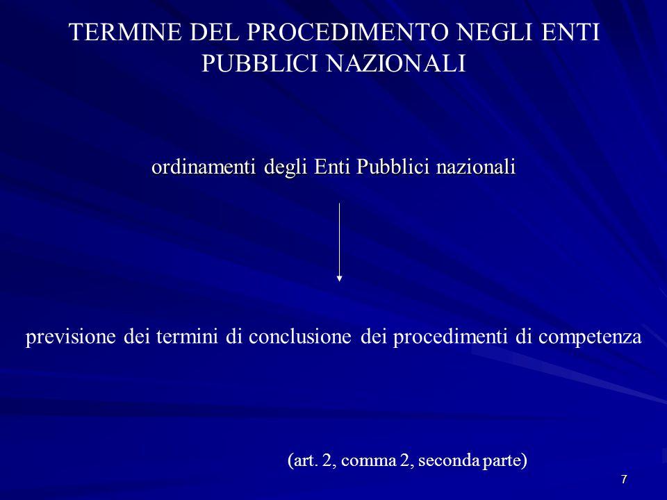 7 TERMINE DEL PROCEDIMENTO NEGLI ENTI PUBBLICI NAZIONALI ordinamenti degli Enti Pubblici nazionali previsione dei termini di conclusione dei procedimenti di competenza (art.