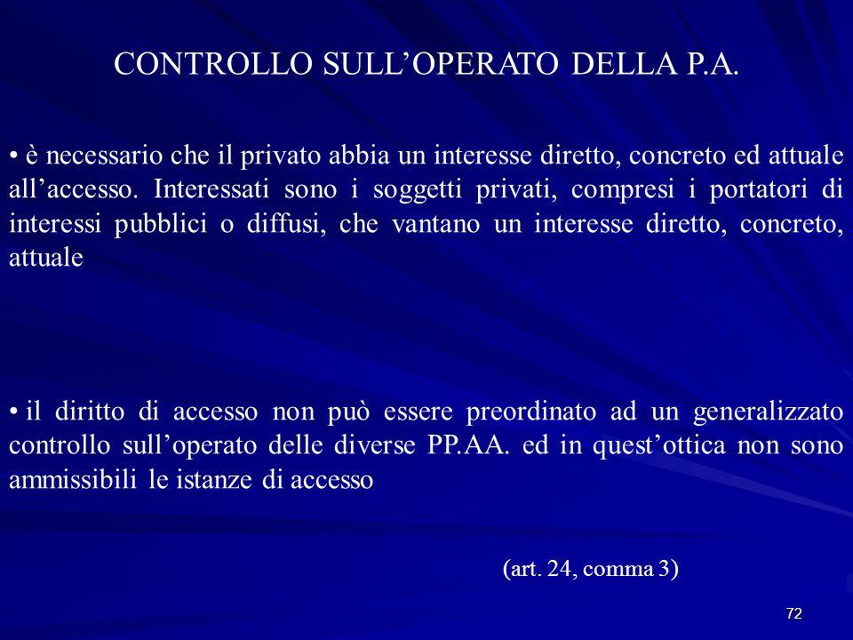 72 CONTROLLO SULL'OPERATO DELLA P.A.