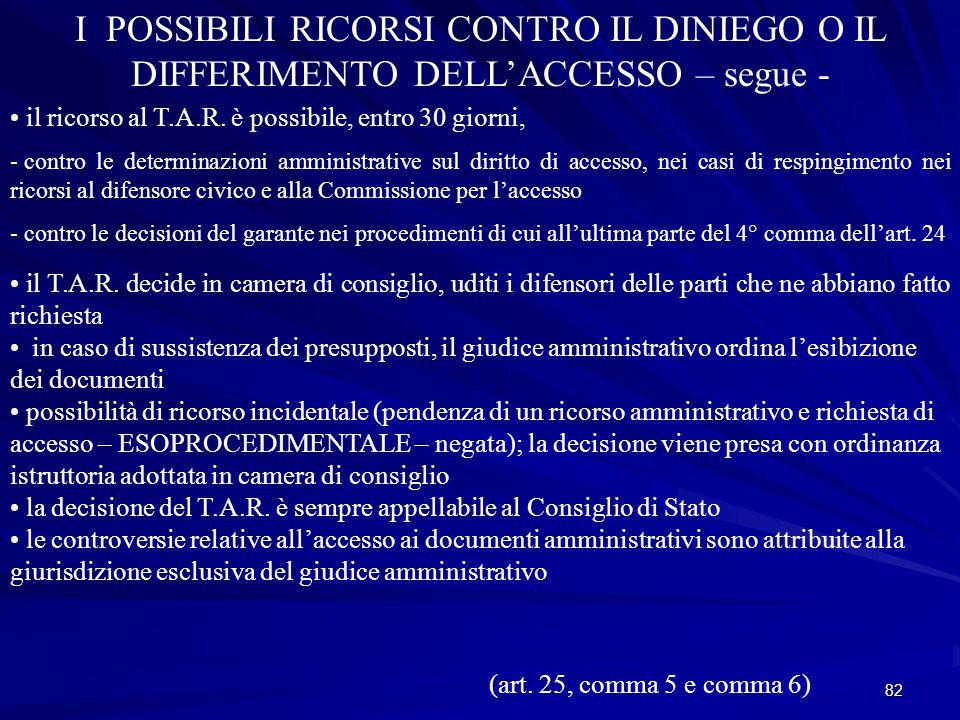82 I POSSIBILI RICORSI CONTRO IL DINIEGO O IL DIFFERIMENTO DELL'ACCESSO – segue - il ricorso al T.A.R.