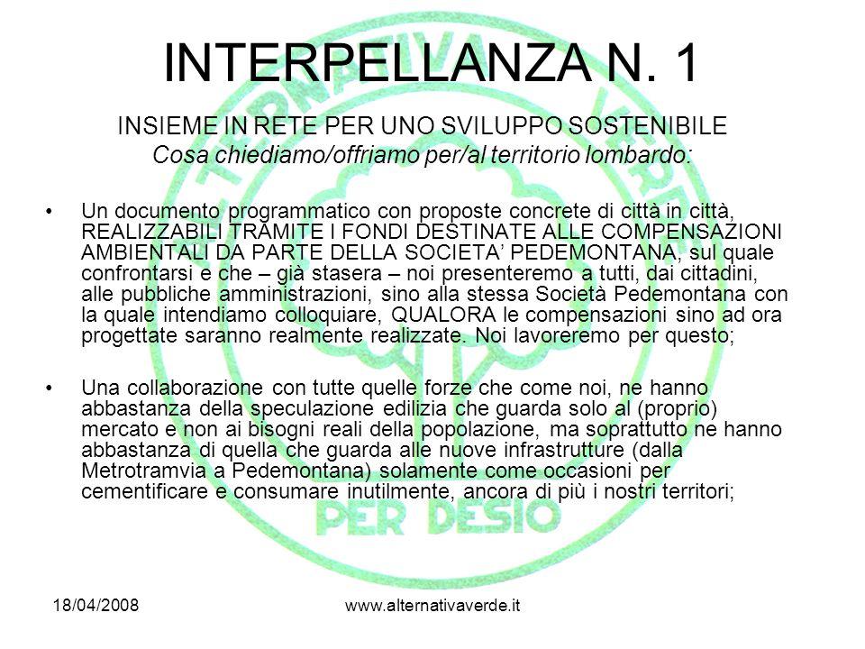 18/04/2008www.alternativaverde.it VIA PER CESANO