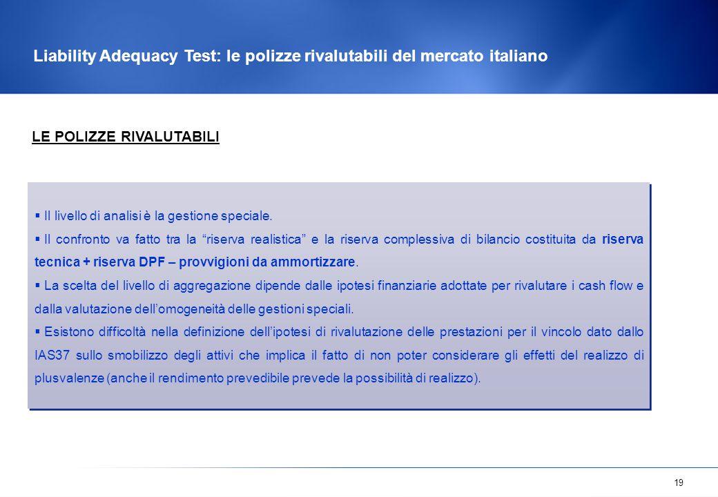 19 Liability Adequacy Test: le polizze rivalutabili del mercato italiano  Il livello di analisi è la gestione speciale.  Il confronto va fatto tra l