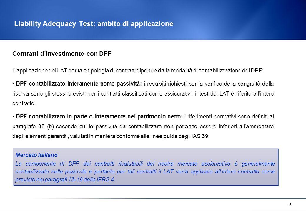 5 Liability Adequacy Test: ambito di applicazione Contratti d'investimento con DPF L'applicazione del LAT per tale tipologia di contratti dipende dall