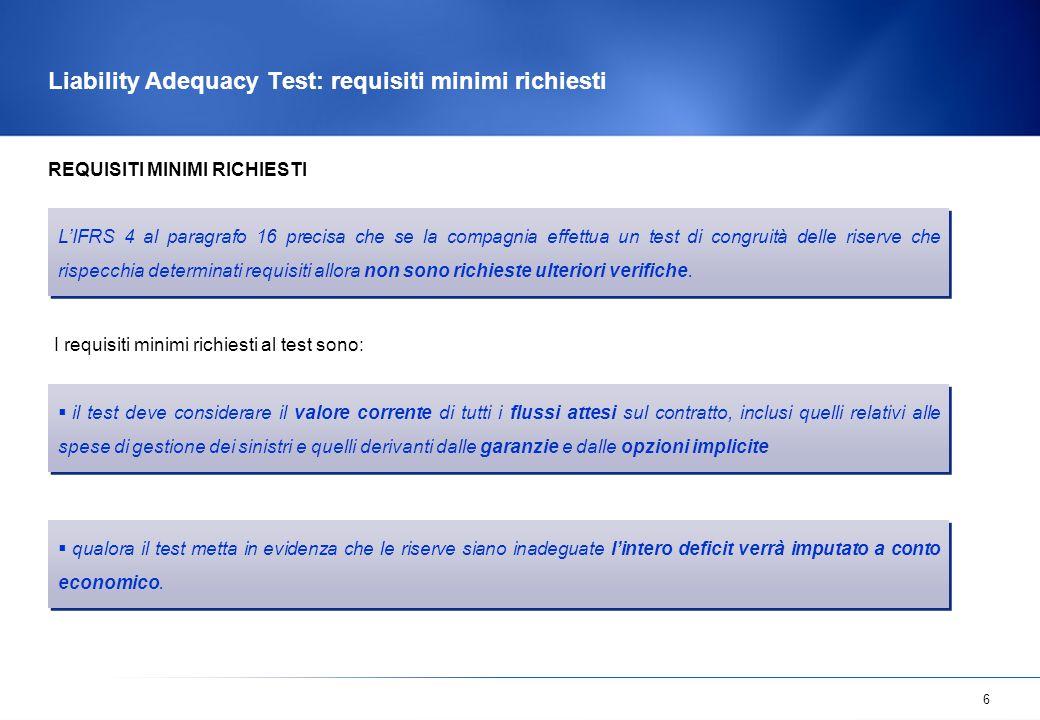 6 Liability Adequacy Test: requisiti minimi richiesti  il test deve considerare il valore corrente di tutti i flussi attesi sul contratto, inclusi qu