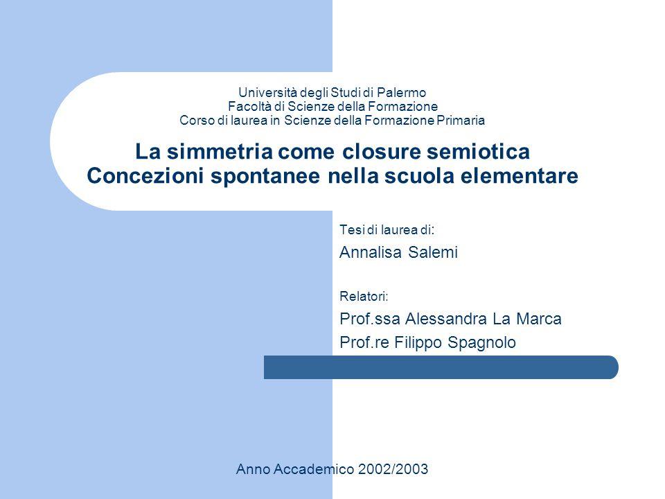 Università degli Studi di Palermo Facoltà di Scienze della Formazione Corso di laurea in Scienze della Formazione Primaria La simmetria come closure s