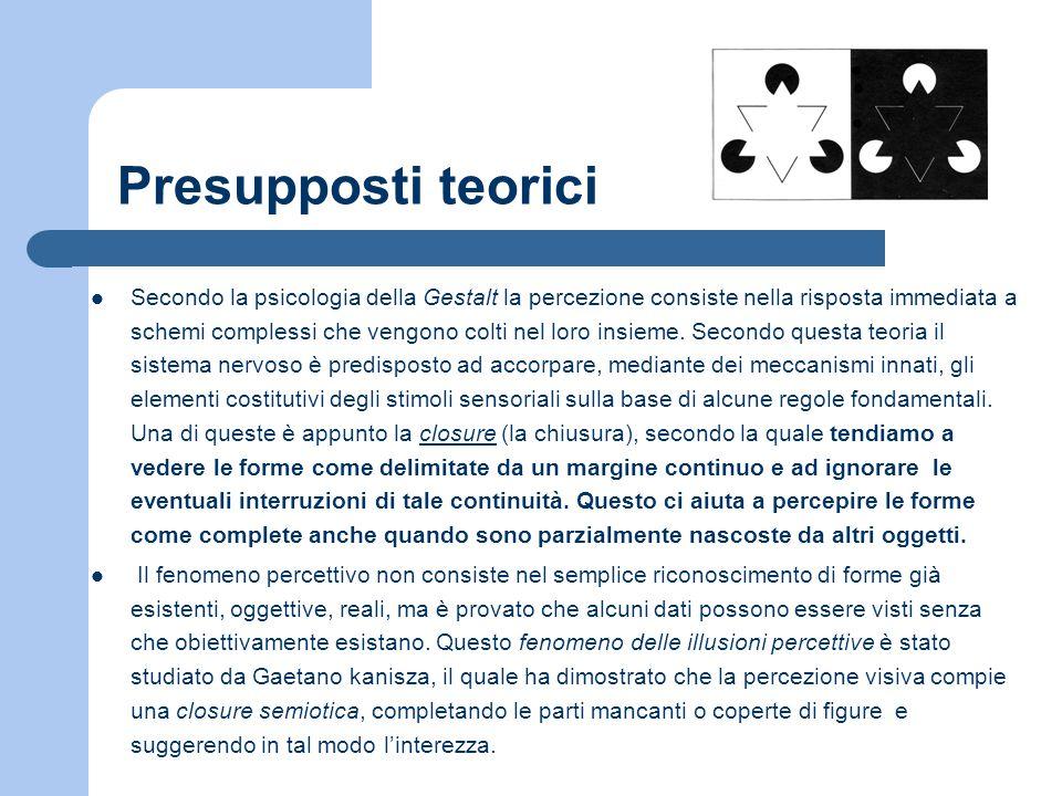 Presupposti teorici Secondo la psicologia della Gestalt la percezione consiste nella risposta immediata a schemi complessi che vengono colti nel loro