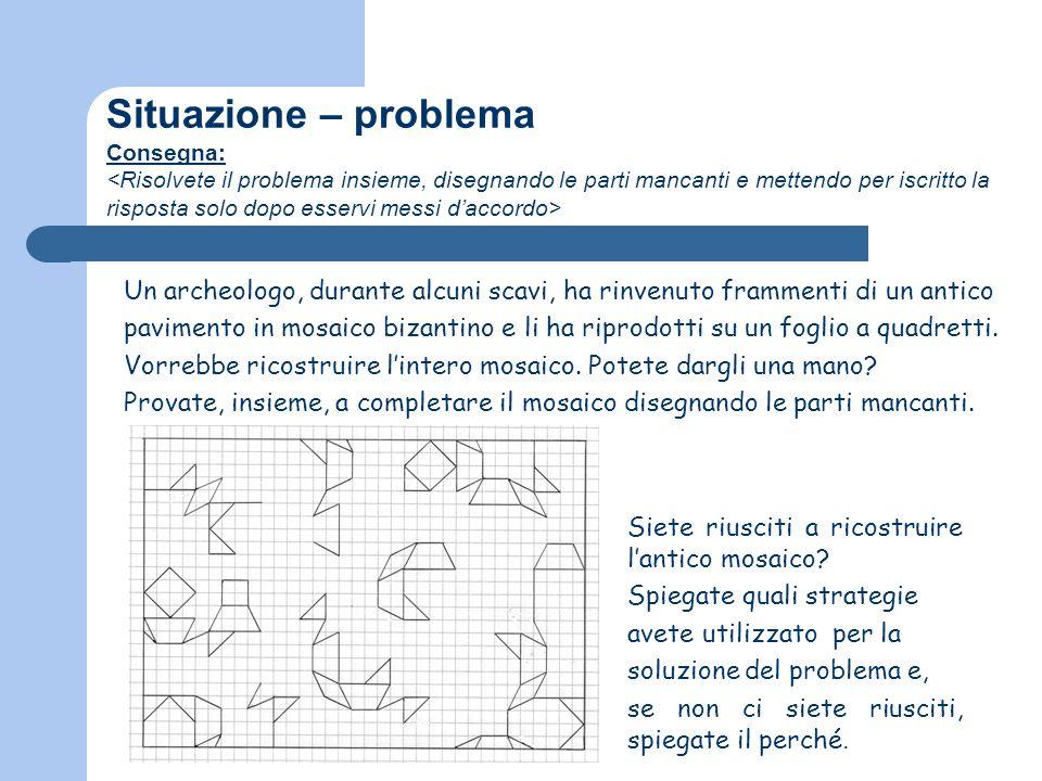 Situazione – problema Consegna: Un archeologo, durante alcuni scavi, ha rinvenuto frammenti di un antico pavimento in mosaico bizantino e li ha riprod