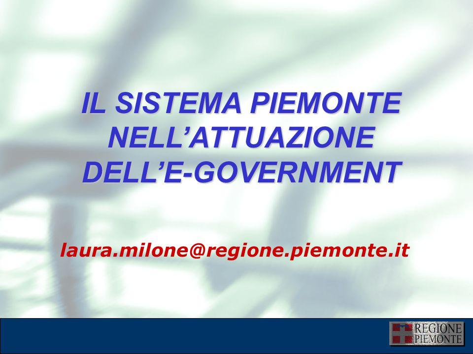 L'attuazione dell'eGovernment 10 dicembre 2001 laura.milone@regione.piemonte.it IL SISTEMA PIEMONTE NELL'ATTUAZIONE DELL'E-GOVERNMENT