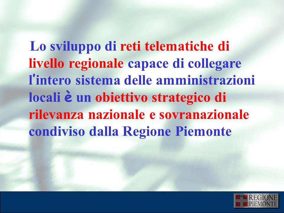 L'attuazione dell'eGovernment 10 dicembre 2001 Lo sviluppo di reti telematiche di livello regionale capace di collegare l ' intero sistema delle amministrazioni locali è un obiettivo strategico di rilevanza nazionale e sovranazionale condiviso dalla Regione Piemonte