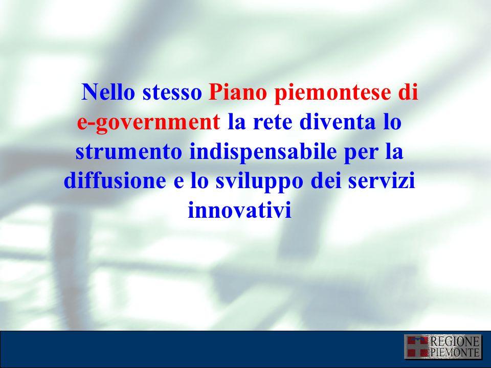 L'attuazione dell'eGovernment 10 dicembre 2001 Nello stesso Piano piemontese di e-government la rete diventa lo strumento indispensabile per la diffusione e lo sviluppo dei servizi innovativi