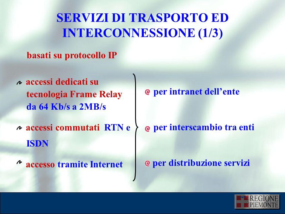 accessi dedicati su tecnologia Frame Relay da 64 Kb/s a 2MB/s accessi commutati RTN e ISDN accesso tramite Internet per intranet dell'ente per interscambio tra enti per distribuzione servizi SERVIZI DI TRASPORTO ED INTERCONNESSIONE (1/3) basati su protocollo IP
