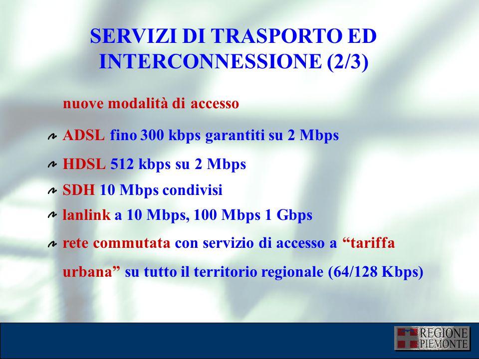 SERVIZI DI TRASPORTO ED INTERCONNESSIONE (2/3) ADSL fino 300 kbps garantiti su 2 Mbps HDSL 512 kbps su 2 Mbps SDH 10 Mbps condivisi lanlink a 10 Mbps, 100 Mbps 1 Gbps rete commutata con servizio di accesso a tariffa urbana su tutto il territorio regionale (64/128 Kbps) nuove modalità di accesso