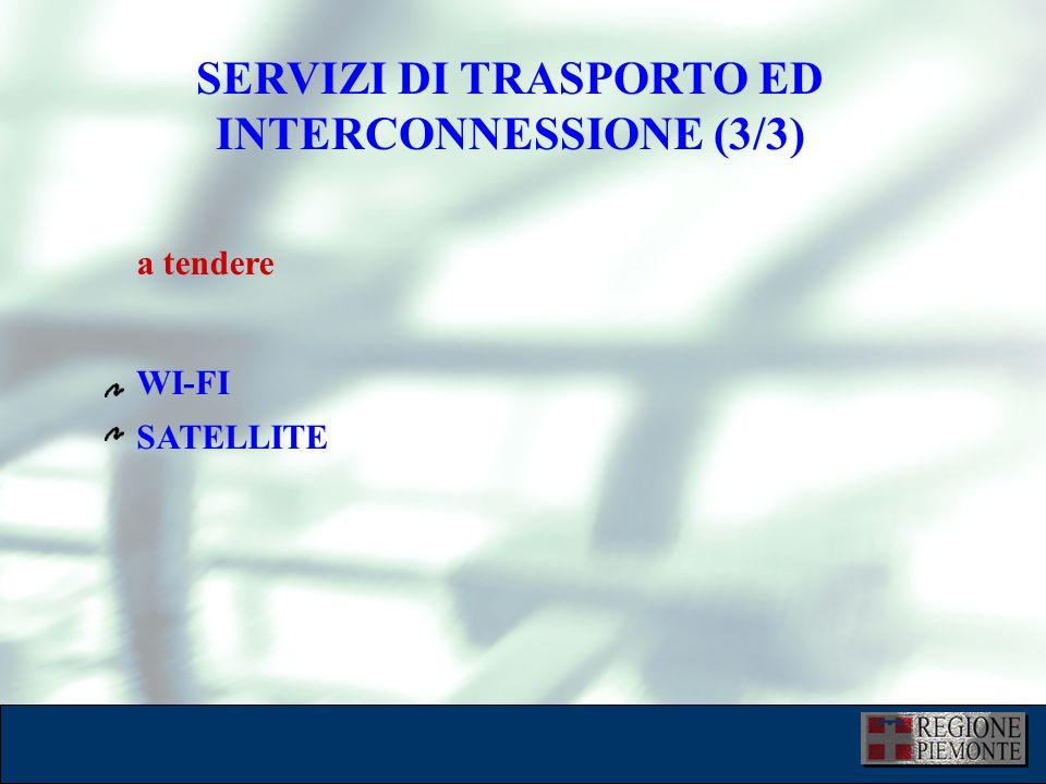 L'attuazione dell'eGovernment 10 dicembre 2001 SERVIZI DI TRASPORTO ED INTERCONNESSIONE (3/3) WI-FI SATELLITE a tendere