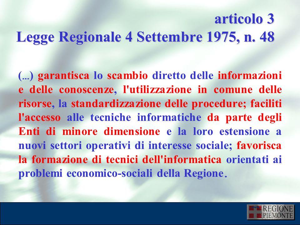 L'attuazione dell'eGovernment 10 dicembre 2001 tipologia enti e numero sedi STATO DELL'ARTE Regione Piemonte110 ASL-ASO74 Medici di Base10 Parchi tecnologici 1 Province (UAZ,UMA,SDA)79 Comunità Montane 48 Atenei8 Biblioteche (SBN)100 Concessionarie Tributi4 Parchi e Riserve Naturali30 Altri Enti3 ATR1 ARPA 12 1181 Farmacie54 ATC8 Comuni1204 VVFF44 Musei47 Scuole682 Centri per l'Impiego36 Zooprofilattico5 URP4 Sportello Imprese17 SIAN13