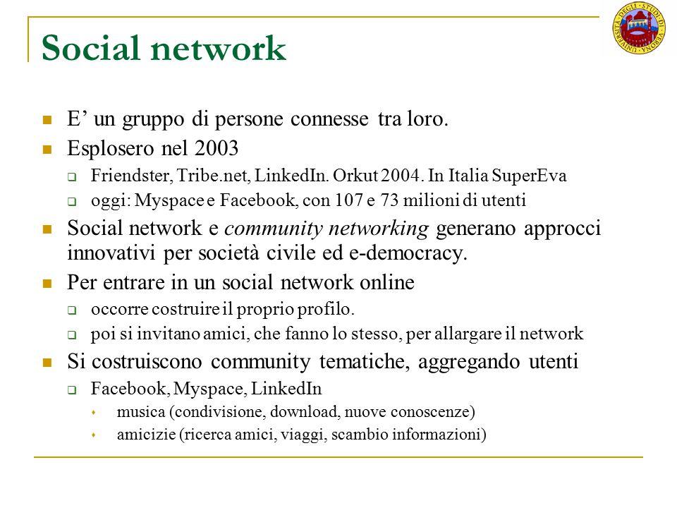 Social network E' un gruppo di persone connesse tra loro. Esplosero nel 2003  Friendster, Tribe.net, LinkedIn. Orkut 2004. In Italia SuperEva  oggi: