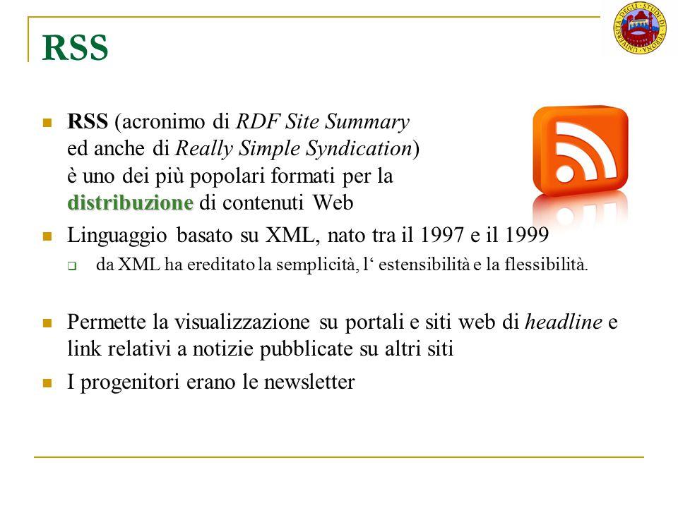 RSS distribuzione RSS (acronimo di RDF Site Summary ed anche di Really Simple Syndication) è uno dei più popolari formati per la distribuzione di cont