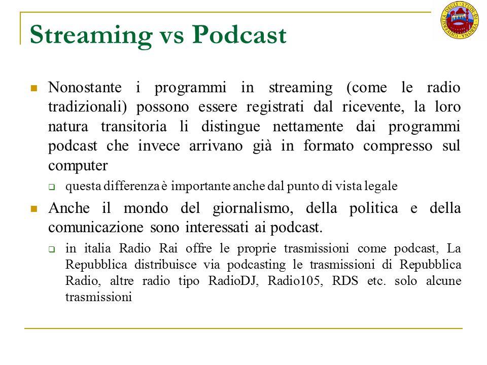 Streaming vs Podcast Nonostante i programmi in streaming (come le radio tradizionali) possono essere registrati dal ricevente, la loro natura transito