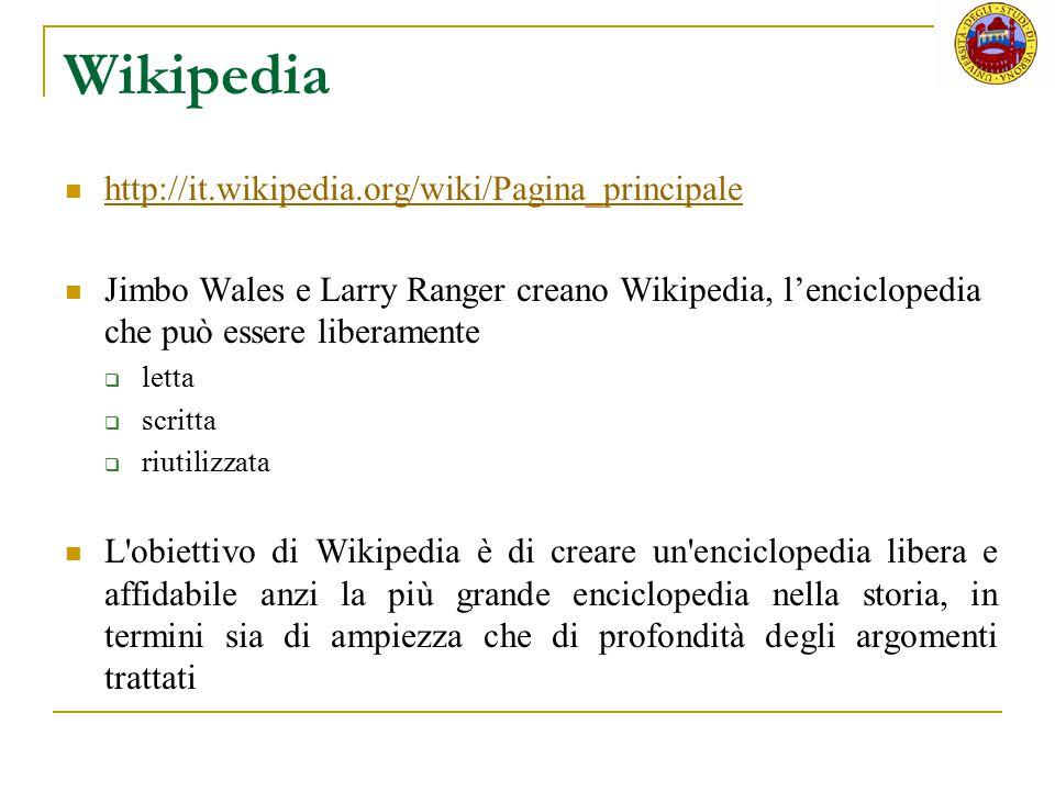 Wikipedia http://it.wikipedia.org/wiki/Pagina_principale Jimbo Wales e Larry Ranger creano Wikipedia, l'enciclopedia che può essere liberamente  lett