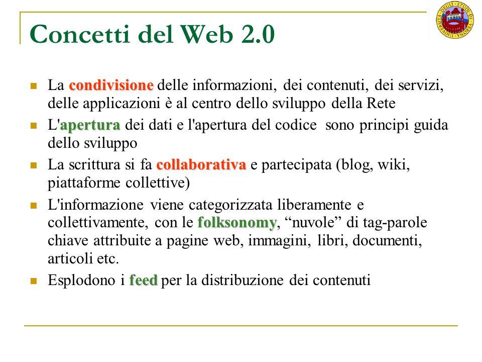 Web 1.0 vs Web 2.0 Web 1.0Web 2.0 Padronanza HTML Maggiore popolazione tecnica Pubblicare Blog senza conoscenze tecniche Apertura a tutte le persone Partecipare
