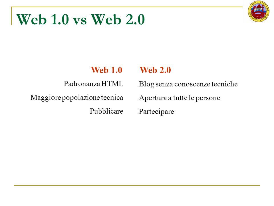 Web 1.0 vs Web 2.0 Web 1.0Web 2.0 Padronanza HTML Maggiore popolazione tecnica Pubblicare Blog senza conoscenze tecniche Apertura a tutte le persone P