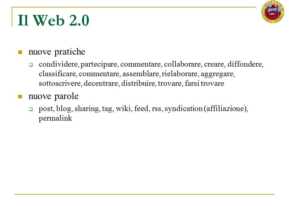 Il Web 2.0 nuove pratiche  condividere, partecipare, commentare, collaborare, creare, diffondere, classificare, commentare, assemblare, rielaborare,