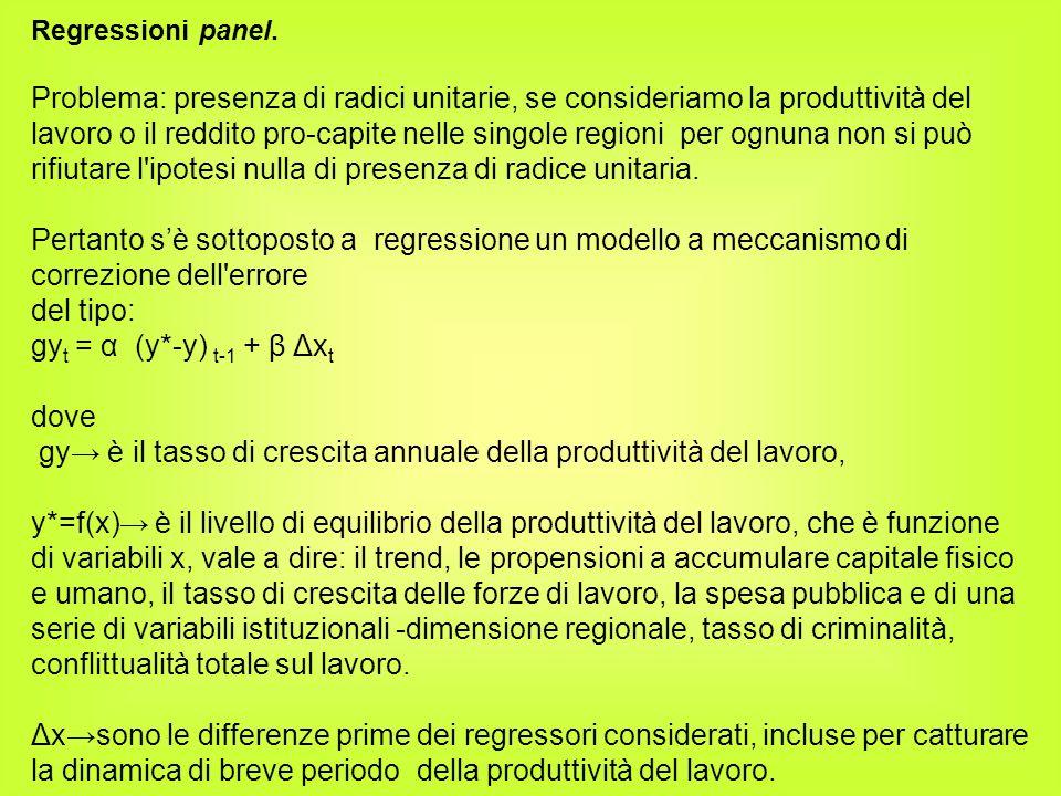 Regressioni panel. Problema: presenza di radici unitarie, se consideriamo la produttività del lavoro o il reddito pro-capite nelle singole regioni per