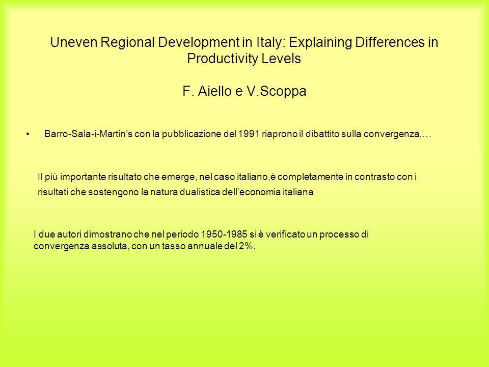 Uneven Regional Development in Italy: Explaining Differences in Productivity Levels F. Aiello e V.Scoppa Barro-Sala-i-Martin's con la pubblicazione de